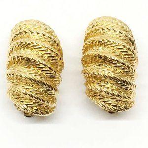 St. John Gold Tone Bold Clip Earrings